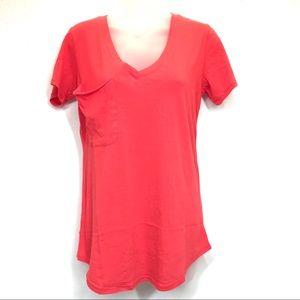 Bobi Sz S Tee Red Lightweight Jersey V Neck Pocket